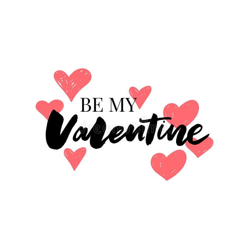 Illustrazioni di tipografia di giorno di biglietti di S. Valentino La cartolina con la siluetta ed il testo del cuore è il mio bi illustrazione di stock