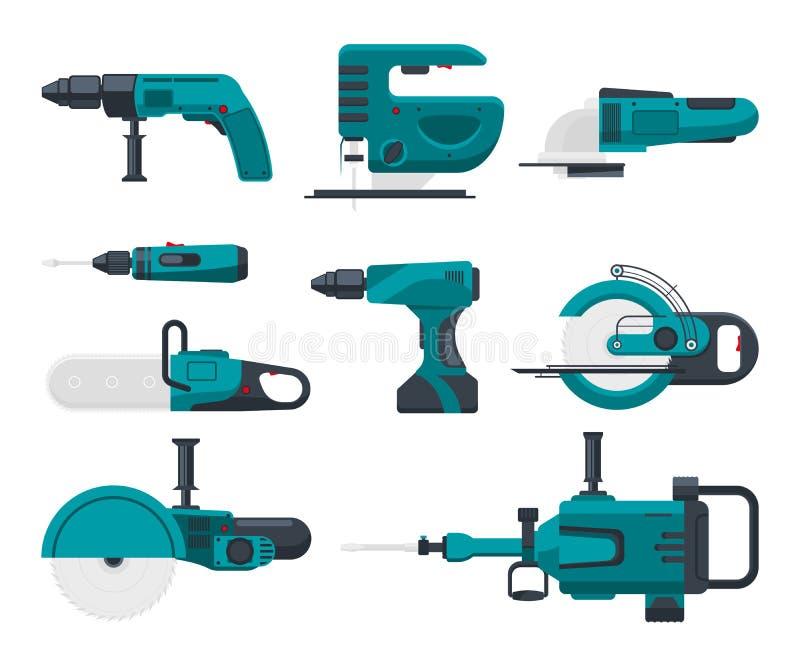 Illustrazioni di vettore degli strumenti elettrici della costruzione illustrazione di stock