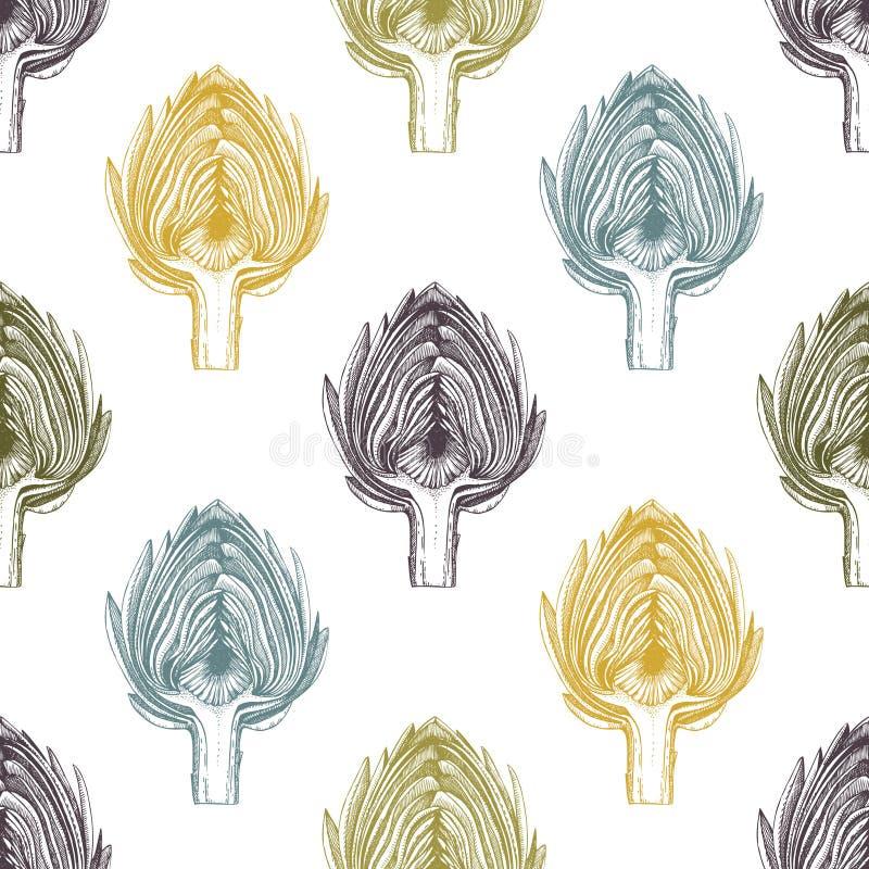 Illustrazioni di vettore del carciofo Verdura disegnata a mano nello stile inciso Modello senza cuciture dell'alimento sano Azien royalty illustrazione gratis