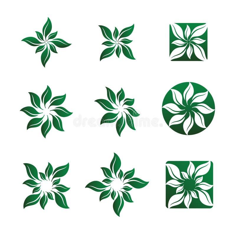 Illustrazioni di vettore del fiore e del foglio illustrazione di stock