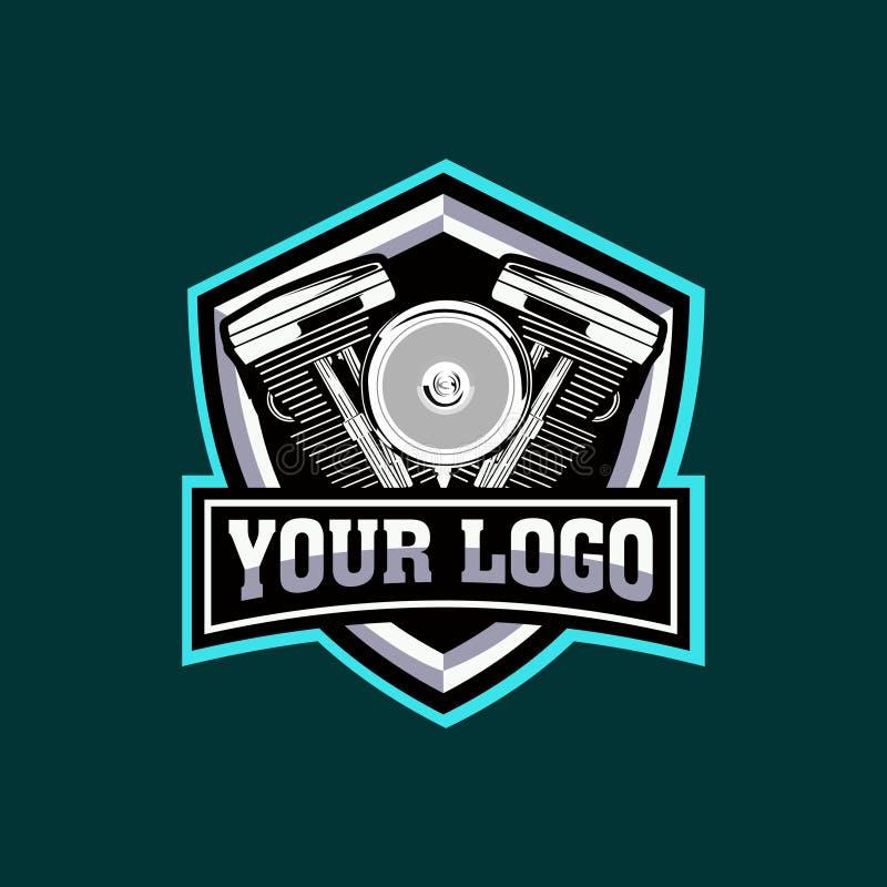illustrazioni di vettore del motore del motociclo di logo di E-sport royalty illustrazione gratis