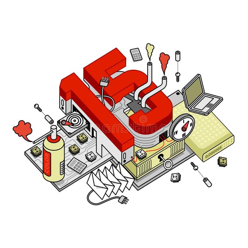 Illustrazioni di vettore del numero 15 con i vari oggetti royalty illustrazione gratis