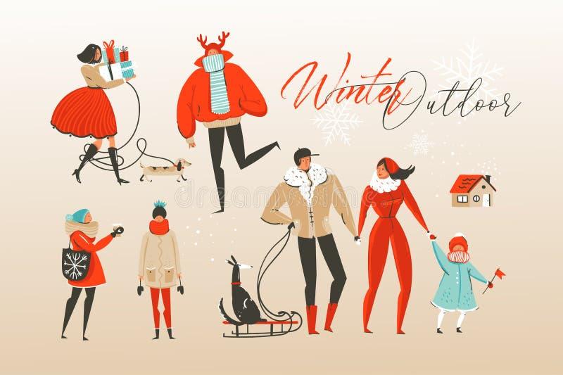 Illustrazioni di vettore dell'estratto del fumetto disegnato a mano di Buon Natale e del buon anno che accolgono l'insieme della  illustrazione vettoriale