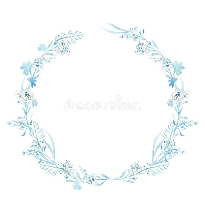 Illustrazioni disegnate a mano dell'acquerello Laurel Wreaths Elementi di disegno grafico Perfezioni per gli inviti di nozze, acc royalty illustrazione gratis