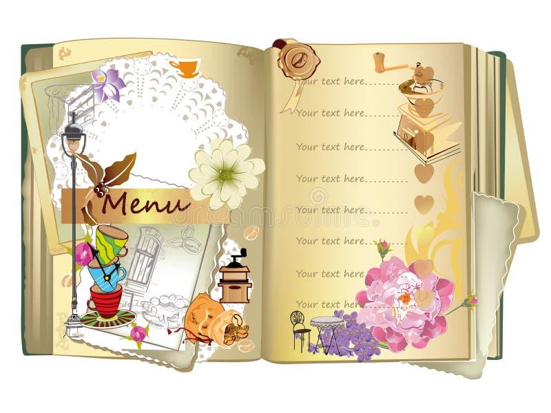 Illustrazioni disegnate a mano dell'alimento per il menu del caffè o del ristorante royalty illustrazione gratis