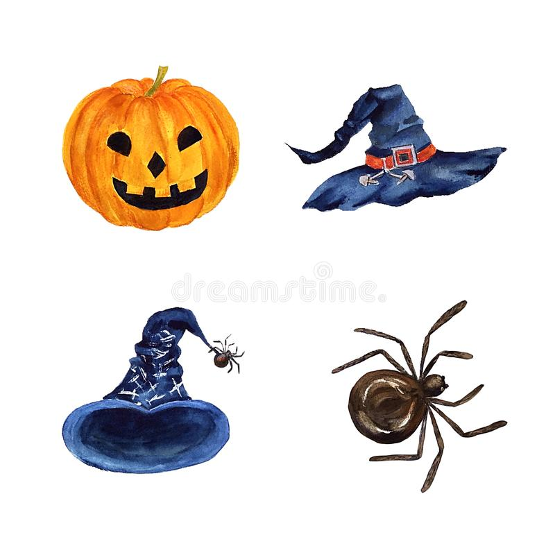 Illustrazioni disegnate a mano di Halloween dell'acquerello con pampkin, il ragno ed i cappelli isolati su fondo bianco illustrazione di stock