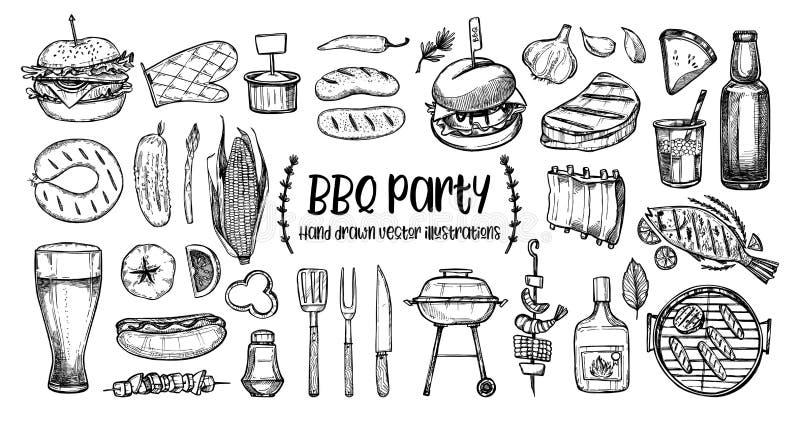 Illustrazioni disegnate a mano di vettore Raccolta del BBQ Progettazione del barbecue illustrazione vettoriale