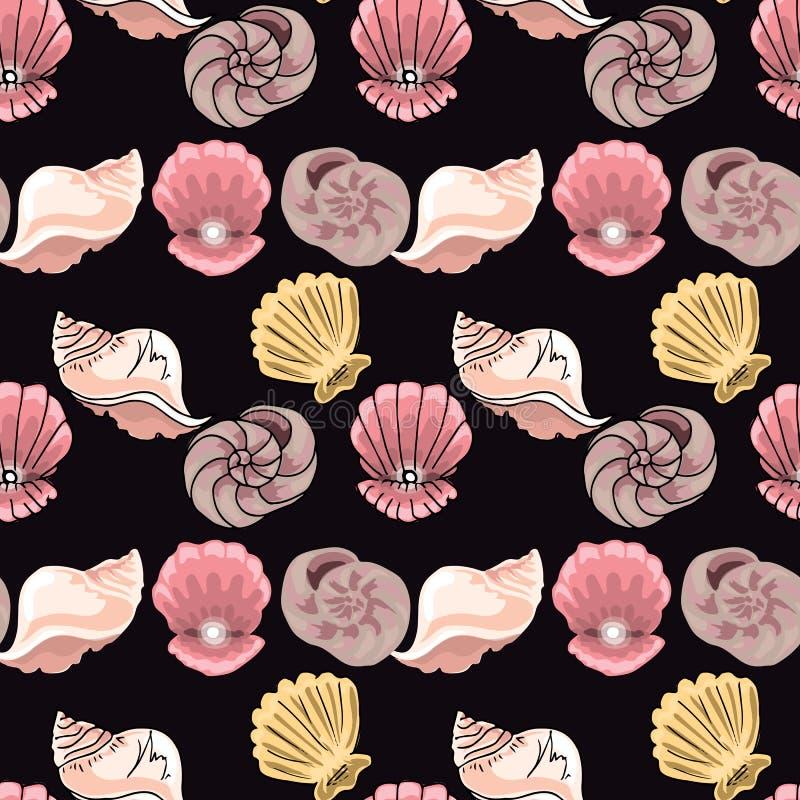 illustrazioni disegnate a mano Immagine con le conchiglie sulla profondità del mare Reticolo senza giunte illustrazione di stock