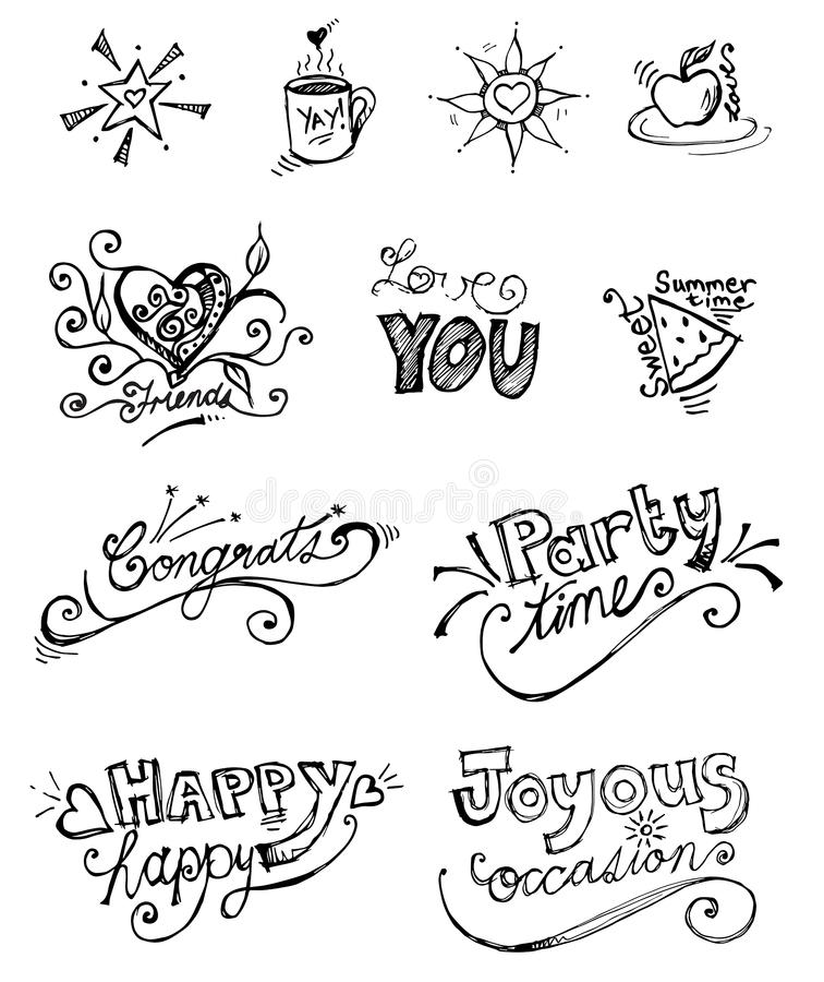 Illustrazioni disegnate a mano originali sveglie in bianco e nero fotografia stock