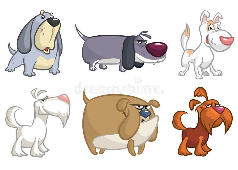 Illustrazioni divertenti dell'insieme dei cani del fumetto illustrazione di stock