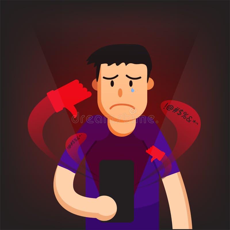 Illustrazioni grafiche di vettore del fondo dell'uomo di cyberbullismo illustrazione di stock