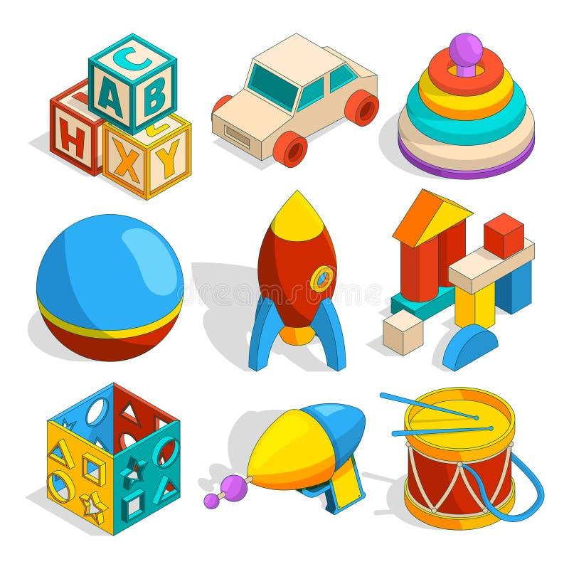 Illustrazioni isometriche dei giocattoli dei vari bambini illustrazione vettoriale