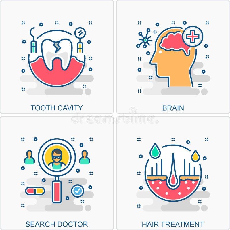 Illustrazioni mediche di concetti e delle icone illustrazione vettoriale