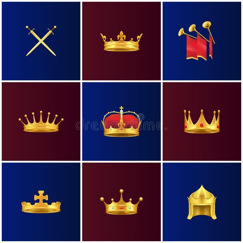 Illustrazioni medievali di attributi dell'oro reale messe illustrazione di stock