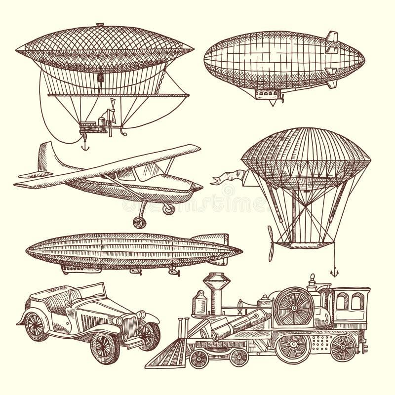 Illustrazioni messe delle macchine nello stile dello steampunk illustrazione vettoriale