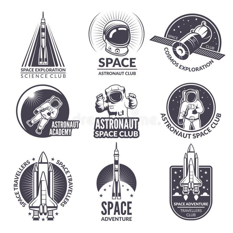 Illustrazioni monocromatiche della navetta spaziale e degli astronauti per le etichette ed i distintivi illustrazione di stock