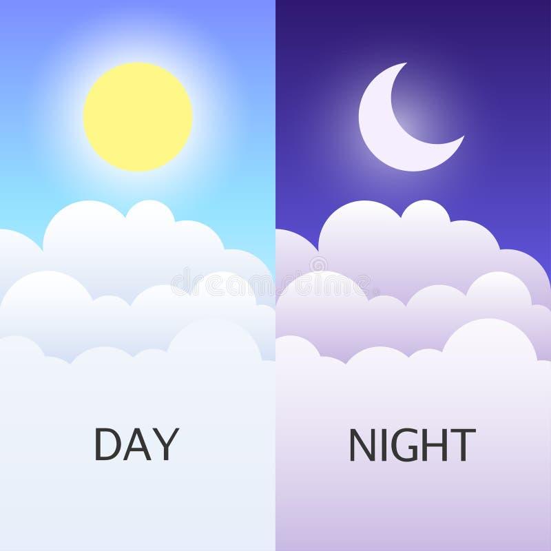 Illustrazioni o insegne di vettore di notte e di giorno illustrazione di stock