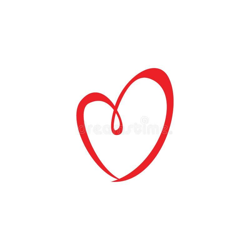 Illustrazioni o segno disegnate a mano dell'icona di amore illustrazione di stock