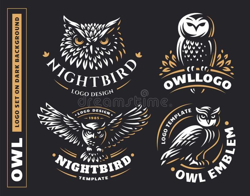 Illustrazioni stabilite di vettore di logo del gufo Disegno dell'emblema royalty illustrazione gratis