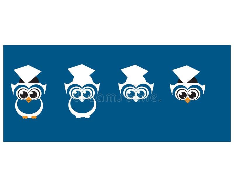 Illustrazioni sveglie di vettore dell'istituzione del laureato del gufo royalty illustrazione gratis