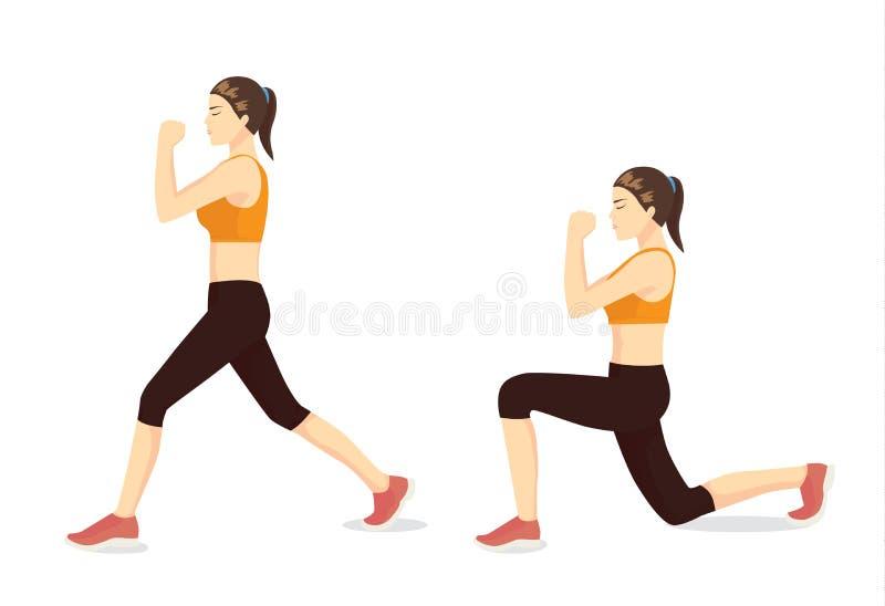 Illustrerad övningshandbok av den sunda kvinnan som gör utfallgenomkörare i 2 moment royaltyfri illustrationer
