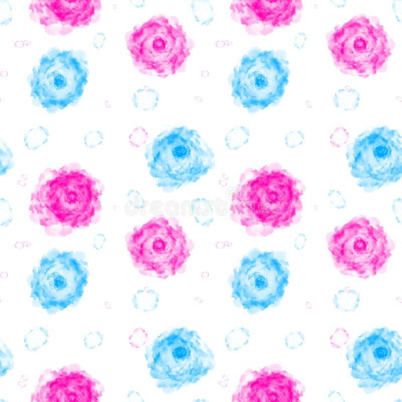 Illustrerad abstrakt sömlös bakgrund med blått och rosa färger flödar stock illustrationer