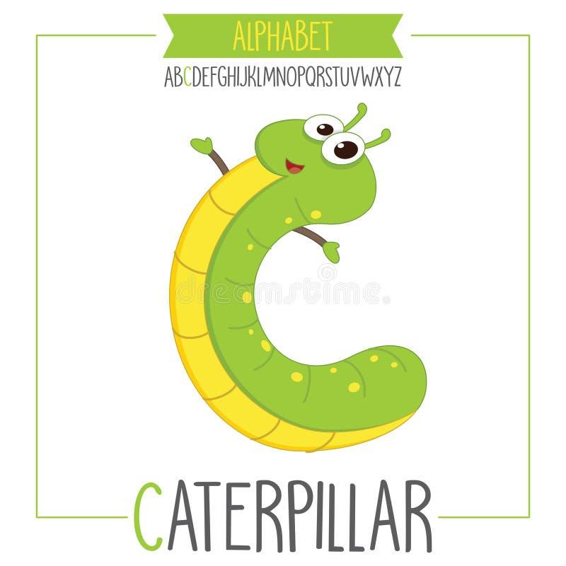 Illustrerad alfabetbokstav C och Caterpillar vektor illustrationer