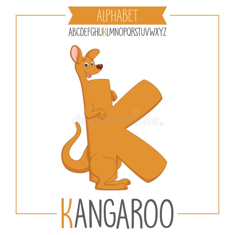 Illustrerad alfabetbokstav K och känguru royaltyfri illustrationer
