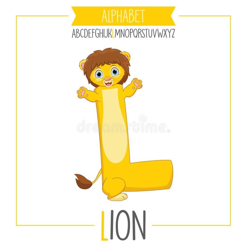 Illustrerad alfabetbokstav L och lejon stock illustrationer