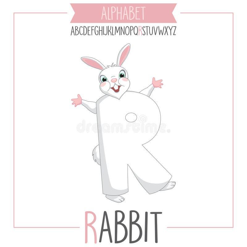 Illustrerad alfabetbokstav R och kanin stock illustrationer