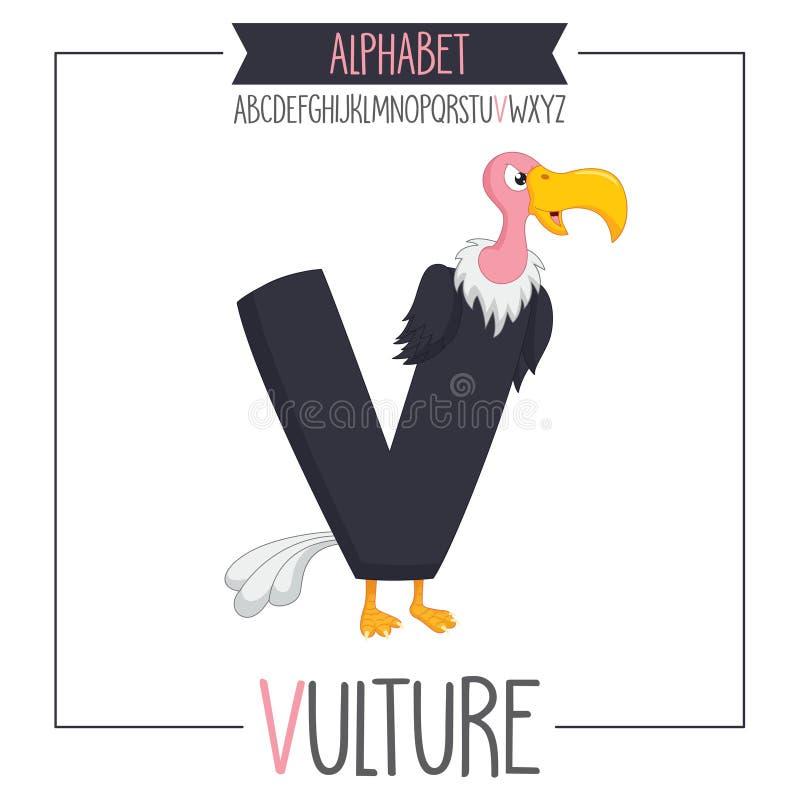 Illustrerad alfabetbokstav V och gam royaltyfri illustrationer