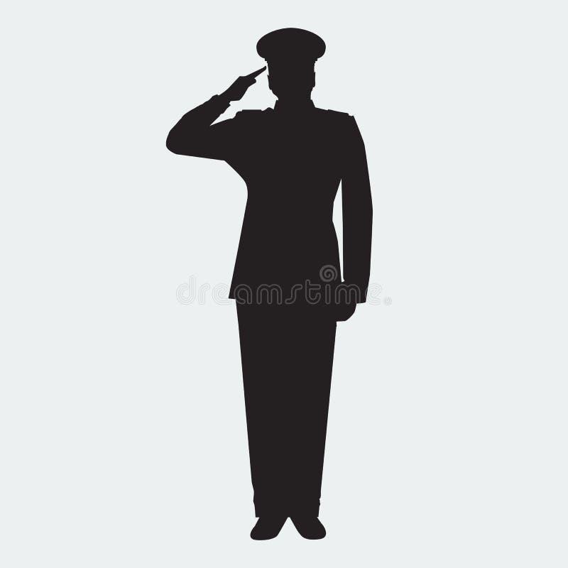 Illustrerad allmän kontur för armé med att salutera för handgest vektor royaltyfri illustrationer