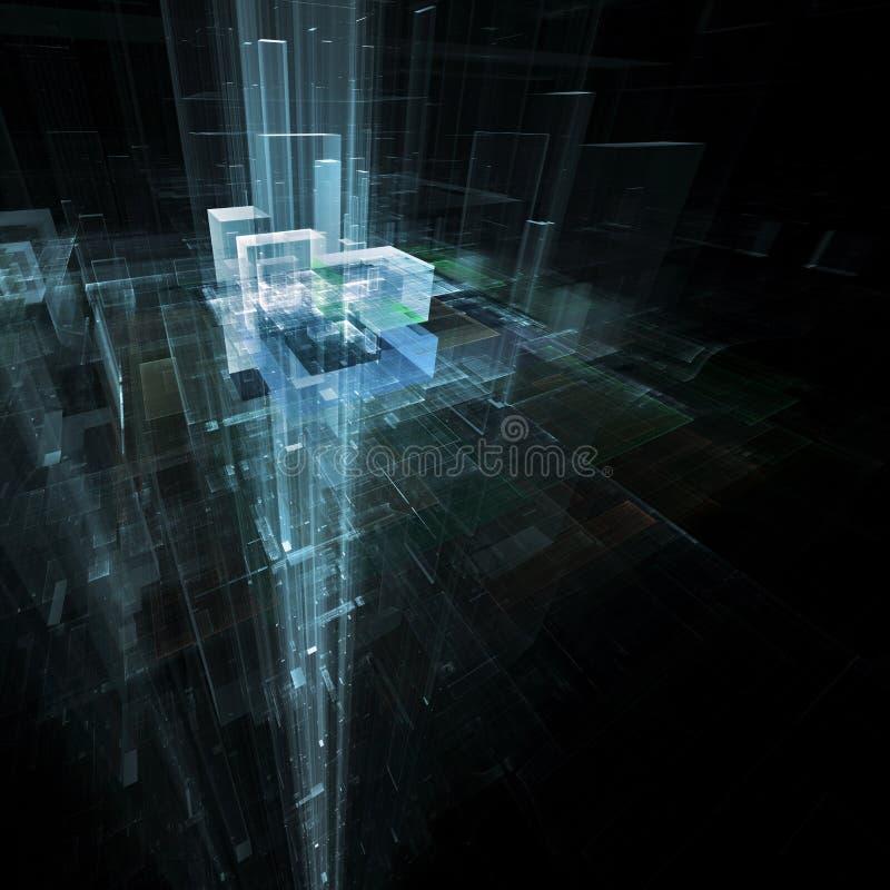 Illustrerad futuristisk abstrakt geometrisk linje Stad-som Structu vektor illustrationer