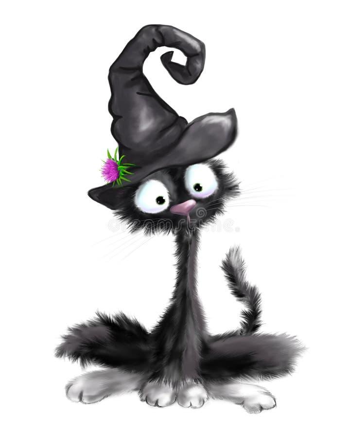 Illustrerad gullig svart katt med häxahatten på allhelgonaafton royaltyfri illustrationer