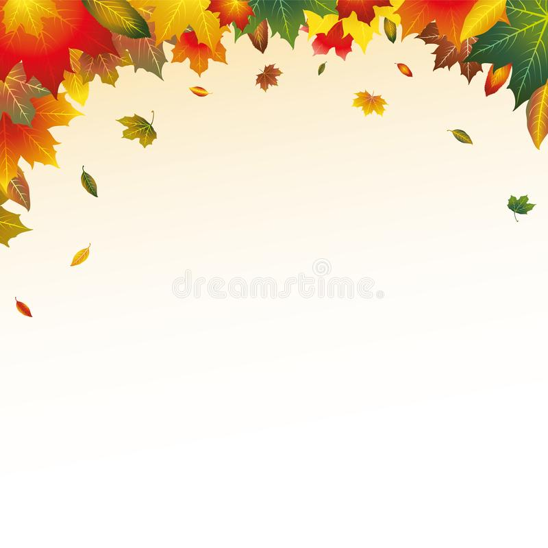 Illustrerad röd, orange, brun, grön och gul Autumn Leaves Top Page Border rambakgrund royaltyfri illustrationer