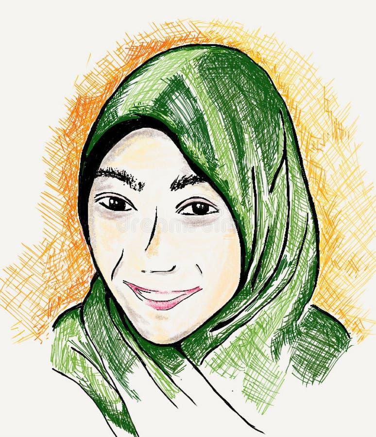 Illustrerad stående av en kvinna som bär en Hijab royaltyfri illustrationer