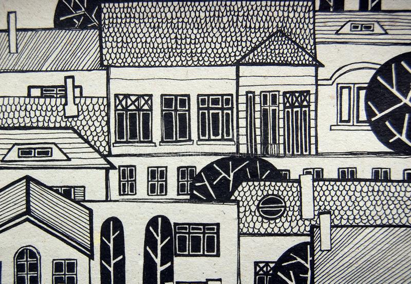 Illustrerad stad med gulliga byggnader och träd vektor illustrationer