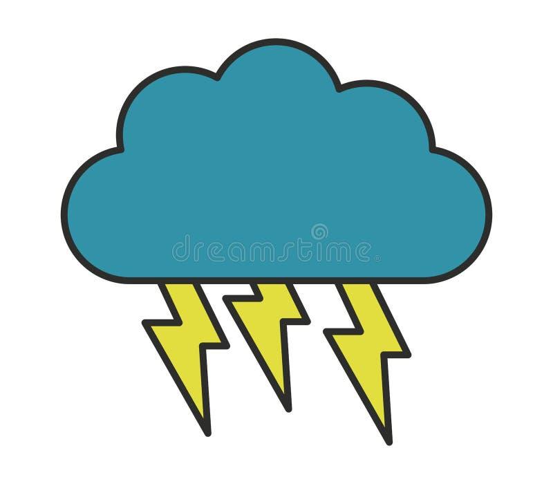 Illustrerad symbol för molnblixtbult stock illustrationer