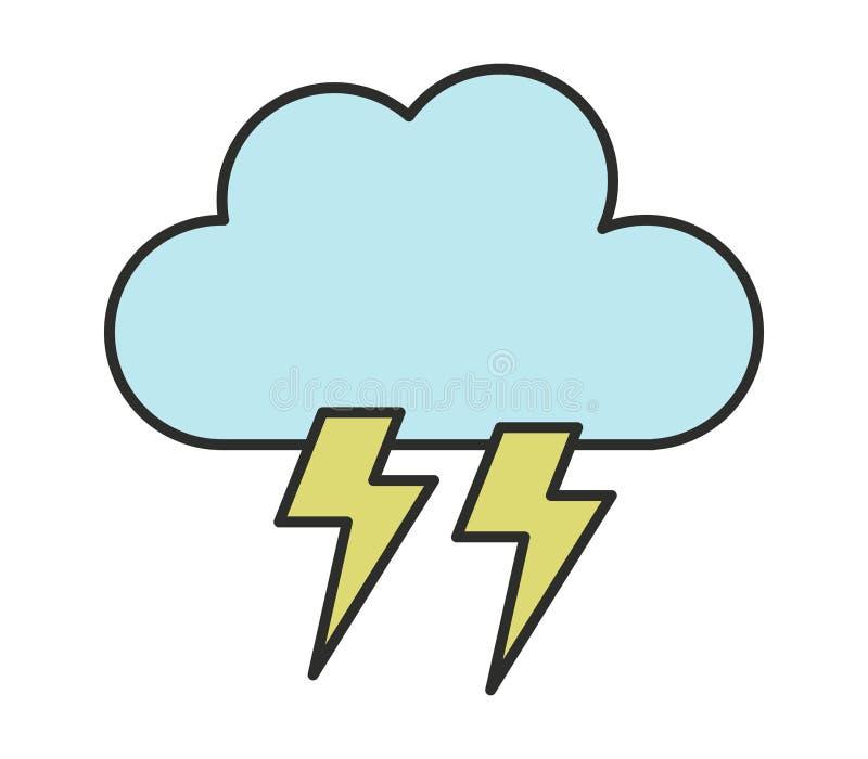 Illustrerad symbol för molnblixtbult vektor illustrationer