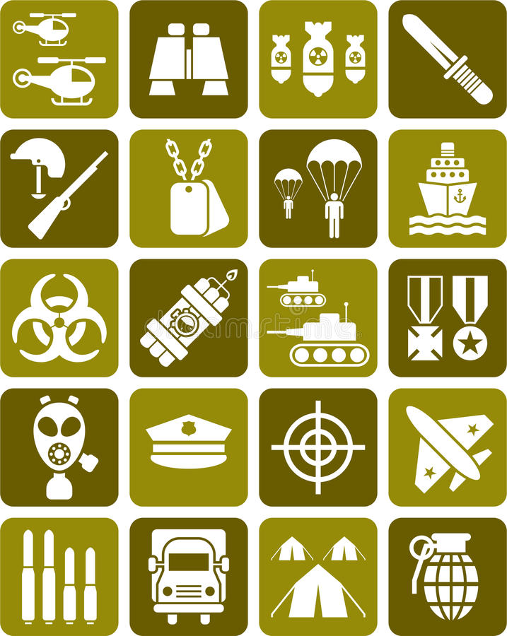 Uppsättning av militärt tecken royaltyfri illustrationer