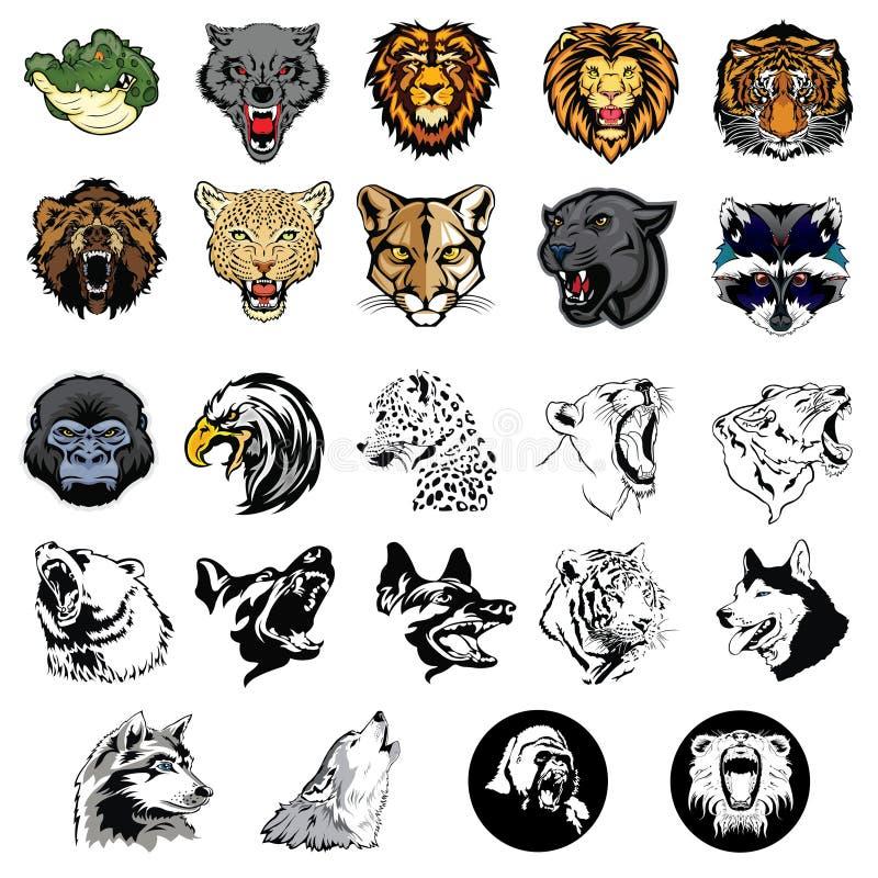 Illustrerad uppsättning av vilda djur och hundkapplöpning royaltyfri illustrationer