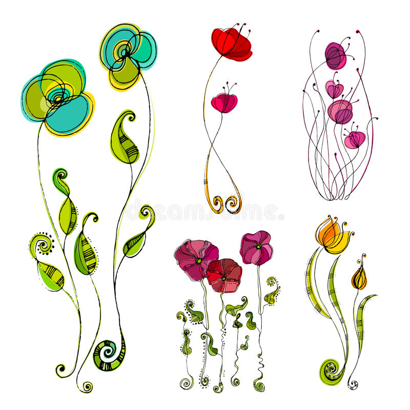 illustrerade gulliga blommor stock illustrationer