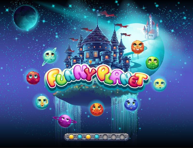 Illustrerar ett exempel av päfyllningsskärmen för en dataspel på ämnet av gladlynta utrymme och planeter Det finns en kängastång stock illustrationer