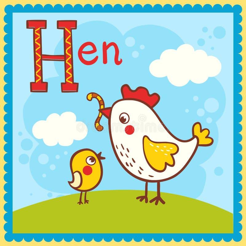 Illustrerat alfabetbokstavsH och höna. royaltyfri illustrationer