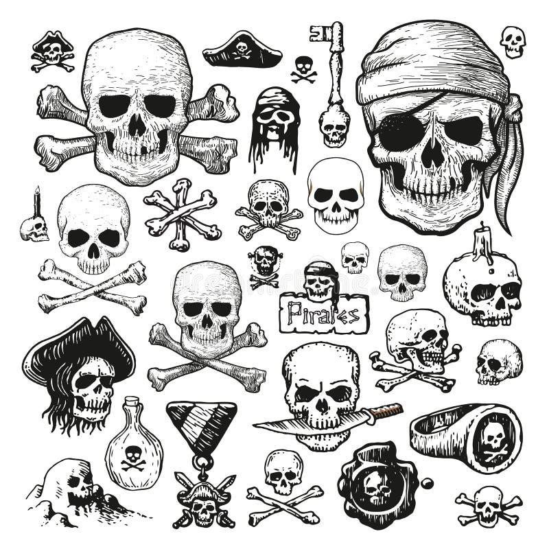 Illustrerat fastställt av piratkopierar skallar stock illustrationer