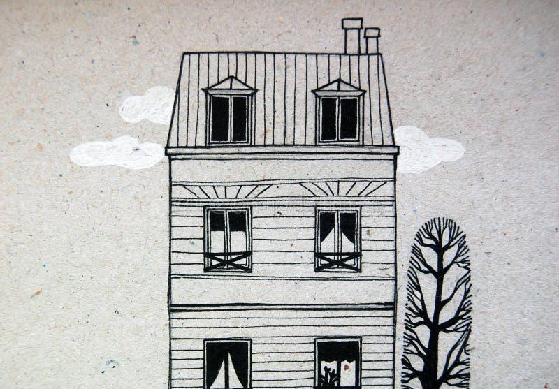 Illustrerat gulligt byggnad och träd vektor illustrationer