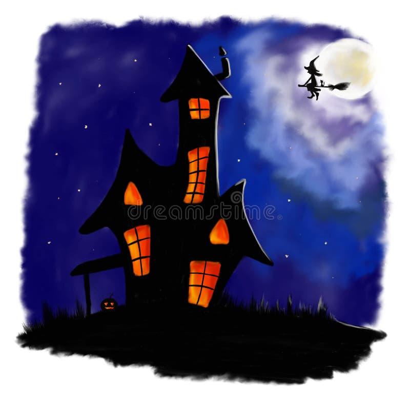 Illustrerat halloween läskigt hus i natt med häxan royaltyfri illustrationer