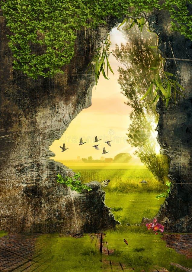 Illustrerat landskap royaltyfri fotografi