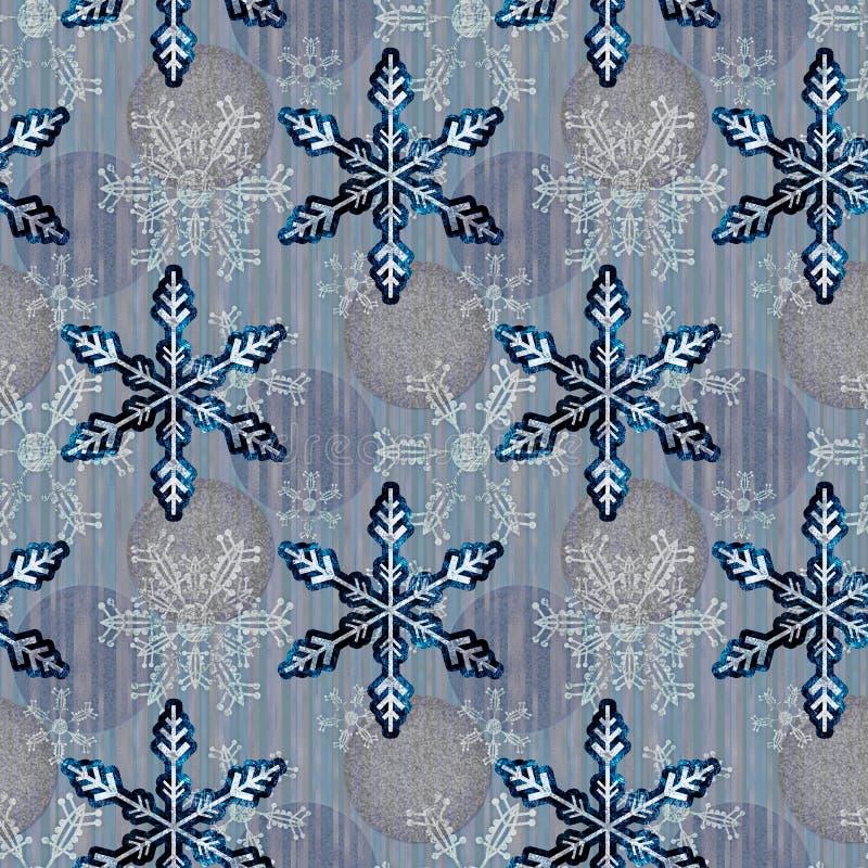 Illustrierte Grunge nahtlose Muster mit Schneeflocken auf abstraktem Hintergrund lizenzfreie abbildung