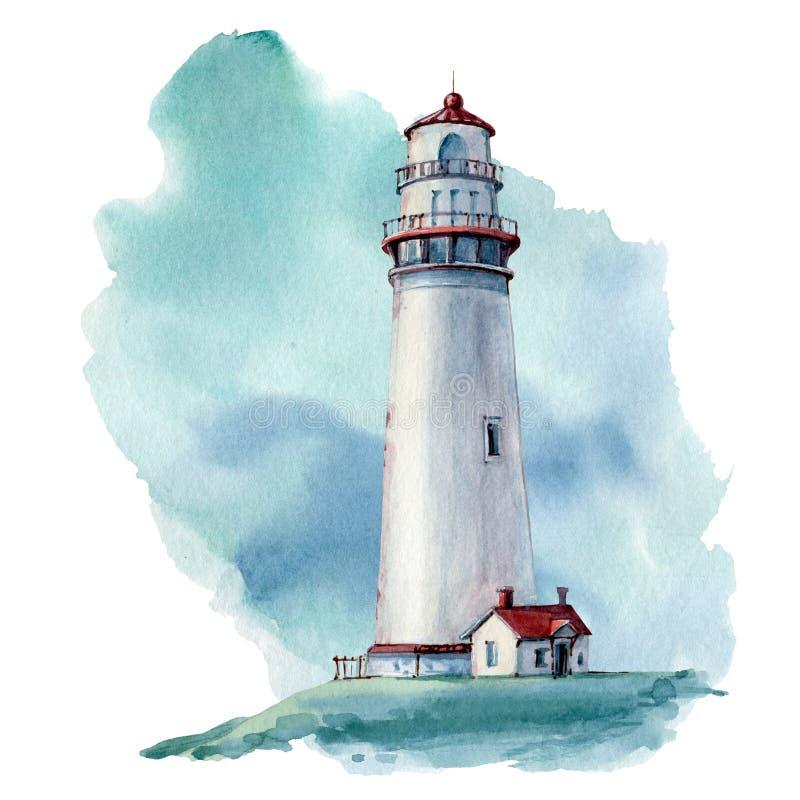 Illustrstion dibujado mano del faro de la acuarela ilustración del vector